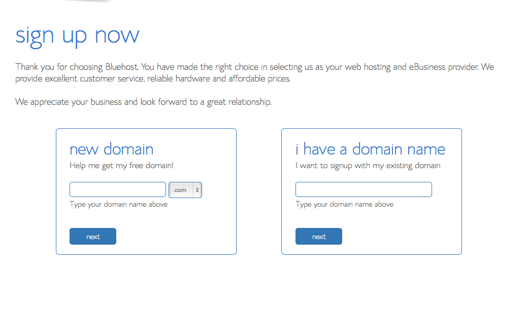 Bluehost - choose your domain