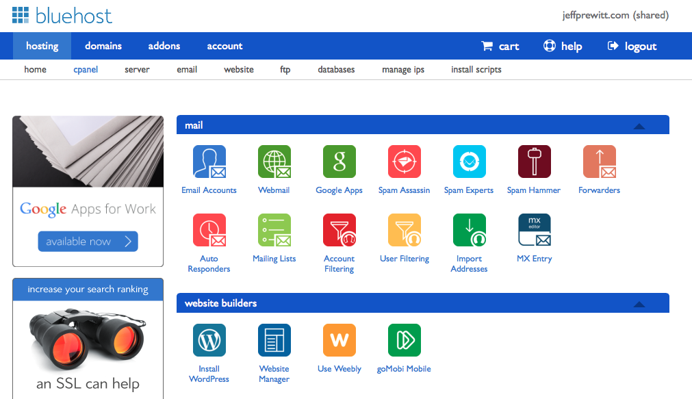 Bluehost - cPanel