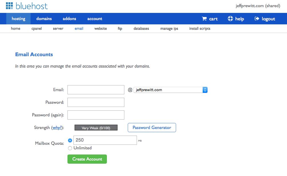 Bluehost - Email Setup